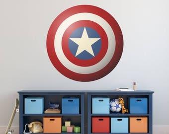 Vinyl Wall Decal Sticker Art, Full Color Superhero Shield