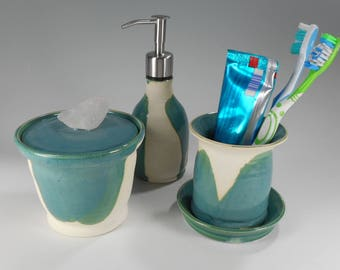 Pottery soap pump dispenser toothbrush holder bathroom accessory set, ceramic lidded storage jar, pottery liquid soap pump, stainless pumper