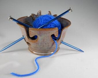 Ceramic double yarn bowl, pottery butterfly knitting bowl, ceramic crochet holder, stoneware yarn bowl with butterfly, yarn keeper