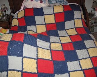 Vintage knitted afghan blanket