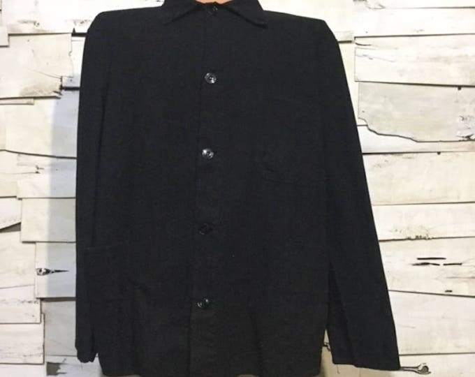 Vintage European HBT Black Dyed Cotton Button Up Distressed / Weathered Chore Coat (os-ewj-14)