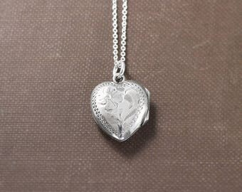 Small Heart Locket Necklace, Vintage Sterling Silver Birks Floral Engraved Pendant - Sweet Pea