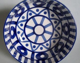 "Dansk Arabesque Pasta Bowl 8"" Cobalt Blue White Serving Kitchen Decor Modern"