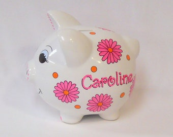 Piggy Bank with Bright Pink and Orange Daisies Personalized for Girl