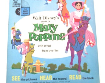 Mary Poppins Disneyland Record and Book, Vintage 1965 Read and Listen Set Based on the Disney Movie