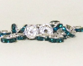 8mm Silver Plated Sky Blue Rhinestone Rondelles w/Mideast Stones - 25 - SELECT
