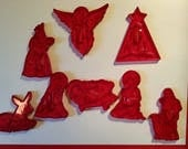 Vintage HRM Red Nativity Christmas Cookie Cutters