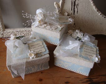 Gift box for Bride something blue wedding keepsake jewelry box for the bride to be embellished pale blue and ivory gift for best friend