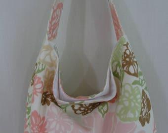 Slouchy BAG, Slouch Purse, Medium Shoulder Purse, Small Hobo, sling Bag, Handbag, Spring Summer, Pink Green Floral