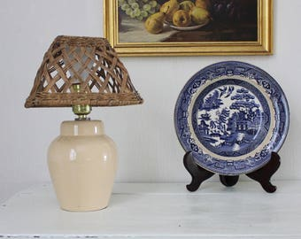 Small Beige Lamp with Wicker Shade