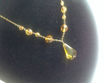 Art Deco 1920s Crystal Necklace, 1920s Negligee Necklace