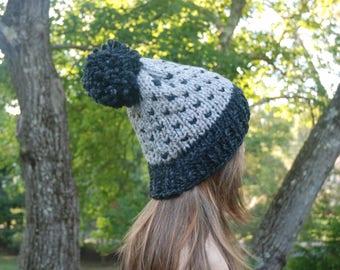 Gray Fair Isle Knit Hat, Grey Knit Hat, Women's Knit Hat, Pom Pom Hat, Winter Hat, Hand Knit Hat, Knit Hat, Chunky Knit Hat, Custom Knit Hat
