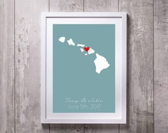 Hawaii Map Print, Personalized Poster Canvas, Couple's Engagement Gift, Where We Met Map, Gift For Couple