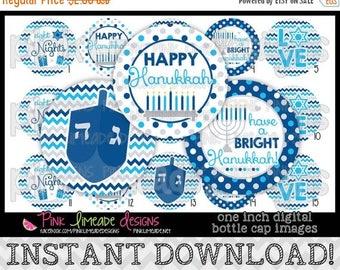"20% OFF Happy Hanukkah - INSTANT DOWNLOAD 1"" Bottle Cap Images 4x6 - 734"