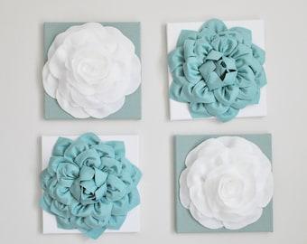 Garden Canvas Art, Hand Sewn Flower Set, Flower, Floral, White and Blue, Wall Decor, Wedding, Nursery Wall Art,Flowers,Handmade, Bathroom