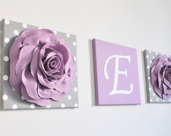 Rose Garden Nursery Art, Roses are Purple, Gray and Purple, Monogram Art Print, Baby Name Print, Canvas Art Print Set, Flower Wall Decor
