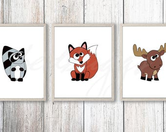 Woodland Nursery Prints set 3, Woodland animal Baby shower,  Forest friends decor, Forest animal posters, Woodland animal Printable Wall Art