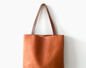 summer sale camel Brown Leather Tote Bag -  Brown Leather Bag - Leather Market bag with cross body strap