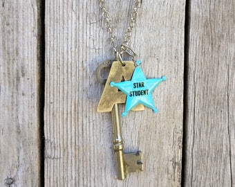 star student necklace | graduation gift | vintage repurposed key | vintage star student badge | A letter stamping
