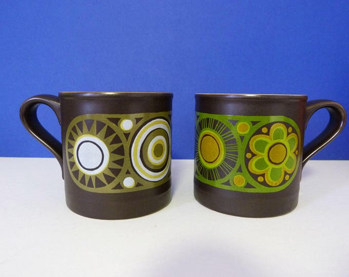 1970's flower power mugs - Staffordshire potteries