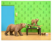 Woodland animals grizzly bear and cub skateboard print: Mama Grizzly