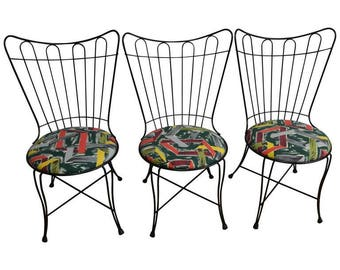 Patio Chairs by Salterini, 1950s with Removable Seats in Vintage Barkcloth