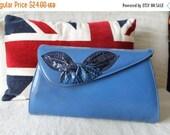 LIQUIDATION 50% OFF 70s Blue Kid Leather Envelope bag purse snakeskin detail leaf bow with shoulder strap