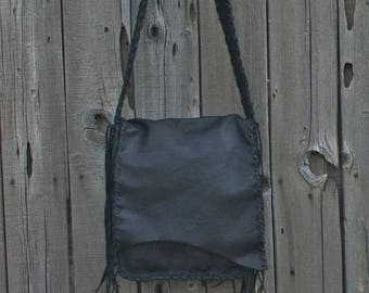 ON SALE Large black handmade shoulder bag , Man bag , Large black handmade handbag