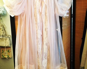 Vintage 1950s Baby pink chiffon chantilly lace peignoir nightgown robe lingerie pinup made in usa pristine designer Gaymode