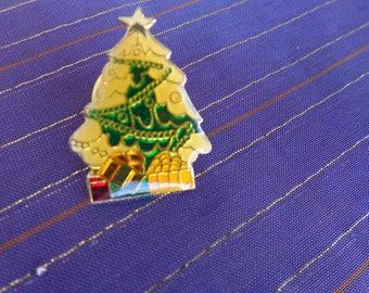 Vintage Tac Pin Brooch - Tiny little Enamel Christmas Tree Tac Pin