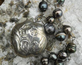 Goddess Of the Rainbow                Antique French Silver Iris Locket Tahitian Pearl Necklace