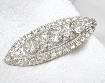 Antique 1920's Art Deco Tie Clip, OOAK Silver Rhinestone Grooms Tie Clip, Great Gatsby Wedding Tie Bar, Gift for Groom Best Man. Speakeasy