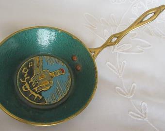 1970's Israeli Turquoise/Green Enamel Brass Pan Vintage Jerusalem Souvenir Jerusalem Collectibles Kitchen Decor Judaica
