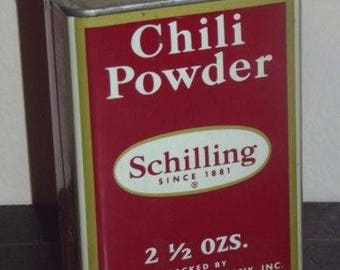 Vintage Schilling Chili Powder Tin 1950 still partially full