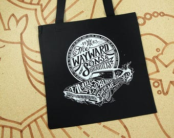 Supernatural Bag // Wayward Sons and Daughters Tote Bag // Sam and Dean Winchester Bag // Hand Screen Printed with white ink on black