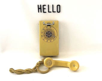 Vintage Yellow Wall Phone, Rotary, Western Electric, gold