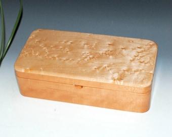Birdseye Maple on Cherry Wooden Box With a Tray-Wooden Jewelry Box, Wood Jewelry Box, Stash Box, Wood Keepsake Box, Treasure Box, Wood Boxes