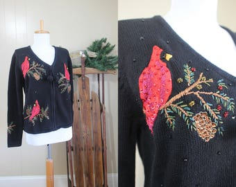 Ugly Christmas Sweater Party Vintage Holiday Black Cardigan Sequin Cardinals L