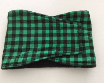 Male Dog Diaper - Dog Belly Band - Green and Black Checks - Available in all Sizes