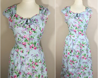Blue Floral Dress by Chandni // Blue Summer Floral Dress with Tie Detail at the Collar