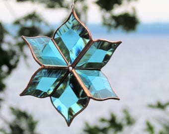 New Turquoise Suncatcher Sculptural Stained Glass Ornament Indoor Outdoor Garden Art Made in Canada