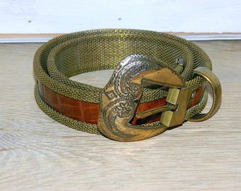 Mesh and Leather Belt With Large Brass Buckle