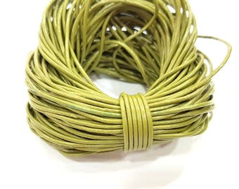 Leather Green Cord 1mt-3.3 ft (1.5mm) Round Leather Lacing G7977