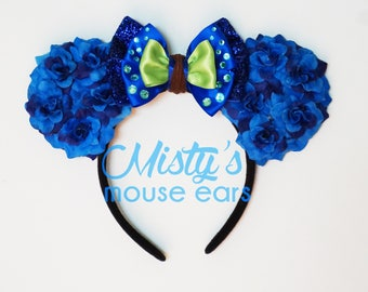 Limited!!! Inspired Avatar Pandora Floral Rose Mouse Ears with LED Blue lighting