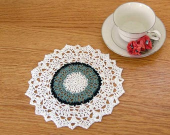French Chic Decor Crochet Lace Doily, Green, White, Dining Room Table Accessory, Textured, Elegant Home Decor