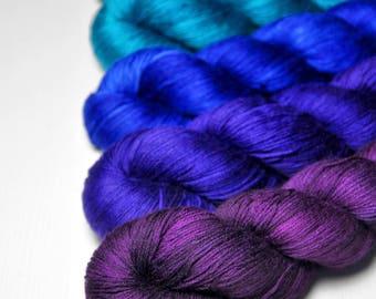 Unhappy rainbow punk - Gradient of Silk/Cashmere Lace Yarn