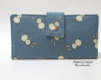 Handmade women wallet clutch - Sweet white bunnies on denim blue - Ready to ship - Checkbook wallet - Gift ideas for her - Birthday gift