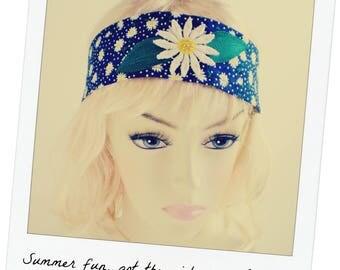 Daisy Headband, Navy Daisy Headband, Daisy Headband Tie, Navy White Floral Headband, Daisy Hair Tie, Daisy Head Scarf