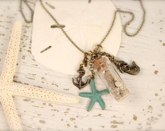 Mermaid Anchor Starfish Bottle Sand Necklace