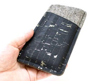 Mobile phone Pocket made of felt and Cork black/gold, custom-made for the mobile phone, cell phone case, Cork leather, wool felt, to measure